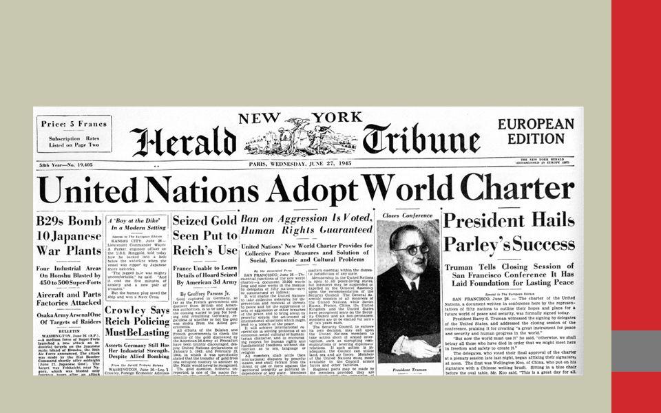 Birleşmiş Milletler (BM) Birleşmiş Milletler (BM), dünya barışını ve güvenliğini korumak, ulusararası alanda ekonomik, toplumsal ve kültürel işbirliğini tesis etmek amacıyla 24 Ekim 1945'te kurulmuştur.
