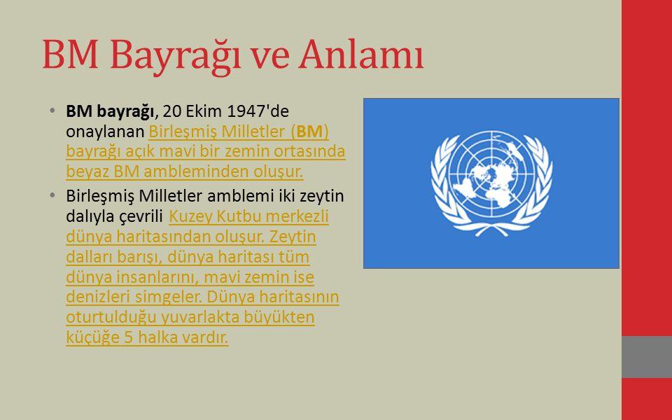 BM Bayrağı ve Anlamı BM bayrağı, 20 Ekim 1947'de onaylanan Birleşmiş Milletler (BM) bayrağı açık mavi bir zemin ortasında beyaz BM ambleminden oluşur.