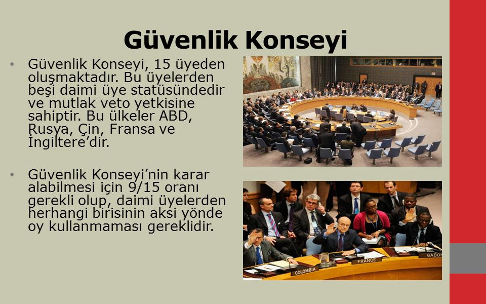 Güvenlik Konseyi Güvenlik Konseyi, 15 üyeden oluşmaktadır. Bu üyelerden beşi daimi üye statüsündedir ve mutlak veto yetkisine sahiptir. Bu ülkeler ABD