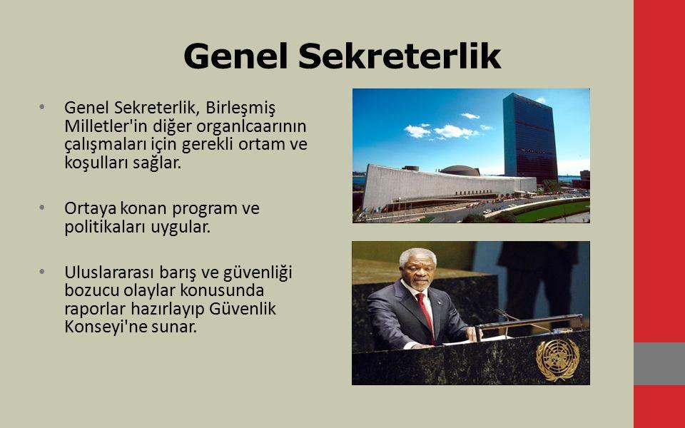 Genel Sekreterlik Genel Sekreterlik, Birleşmiş Milletler'in diğer organlcaarının çalışmaları için gerekli ortam ve koşulları sağlar. Ortaya konan prog