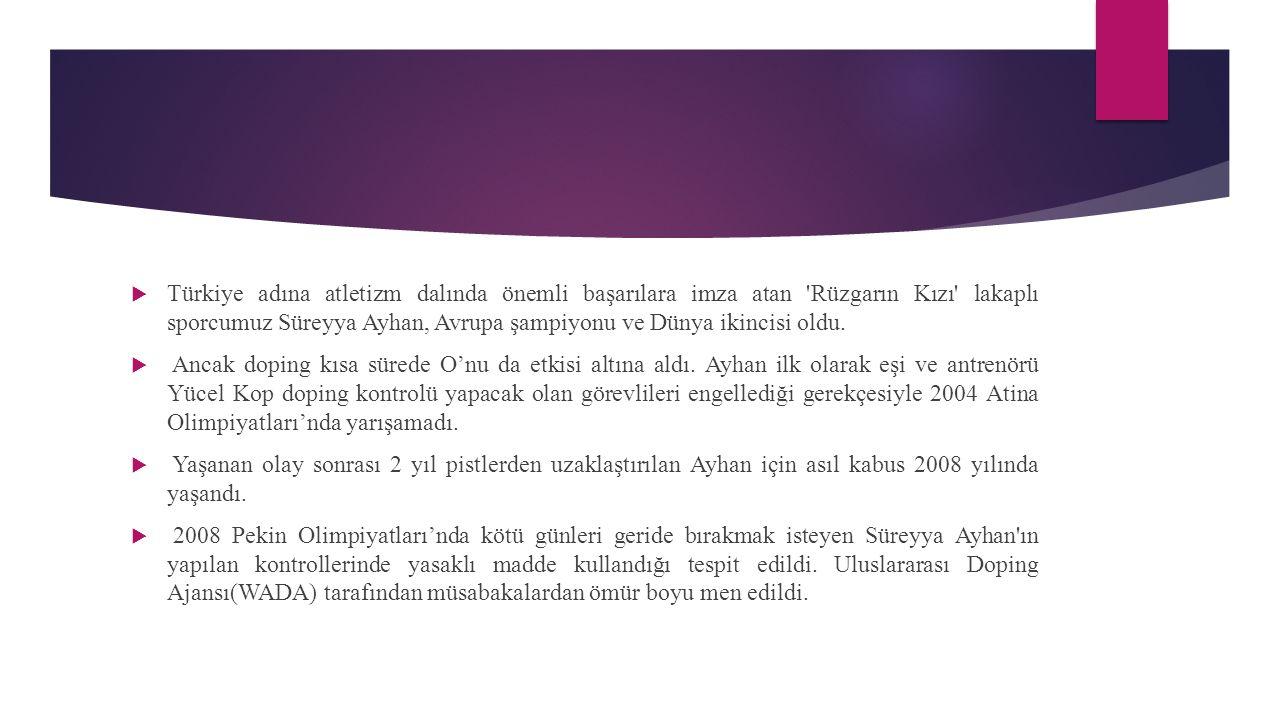  Türkiye adına atletizm dalında önemli başarılara imza atan 'Rüzgarın Kızı' lakaplı sporcumuz Süreyya Ayhan, Avrupa şampiyonu ve Dünya ikincisi oldu.