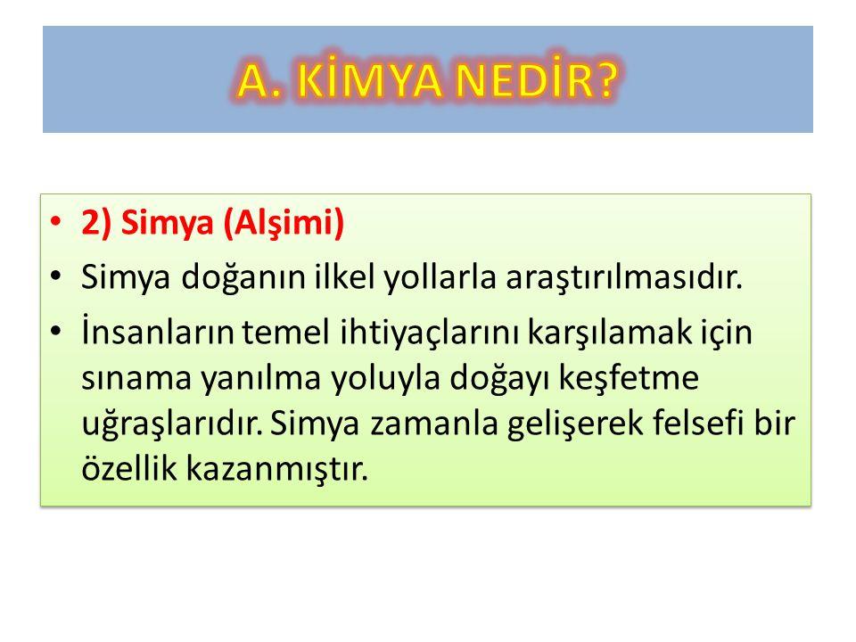 2) Simya (Alşimi) Simya doğanın ilkel yollarla araştırılmasıdır.