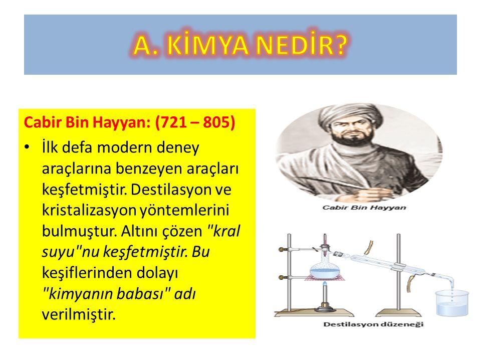Cabir Bin Hayyan: (721 – 805) İlk defa modern deney araçlarına benzeyen araçları keşfetmiştir.