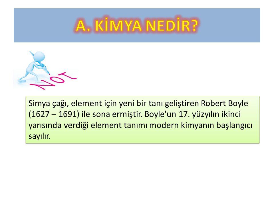 Simya çağı, element için yeni bir tanı geliştiren Robert Boyle (1627 – 1691) ile sona ermiştir.