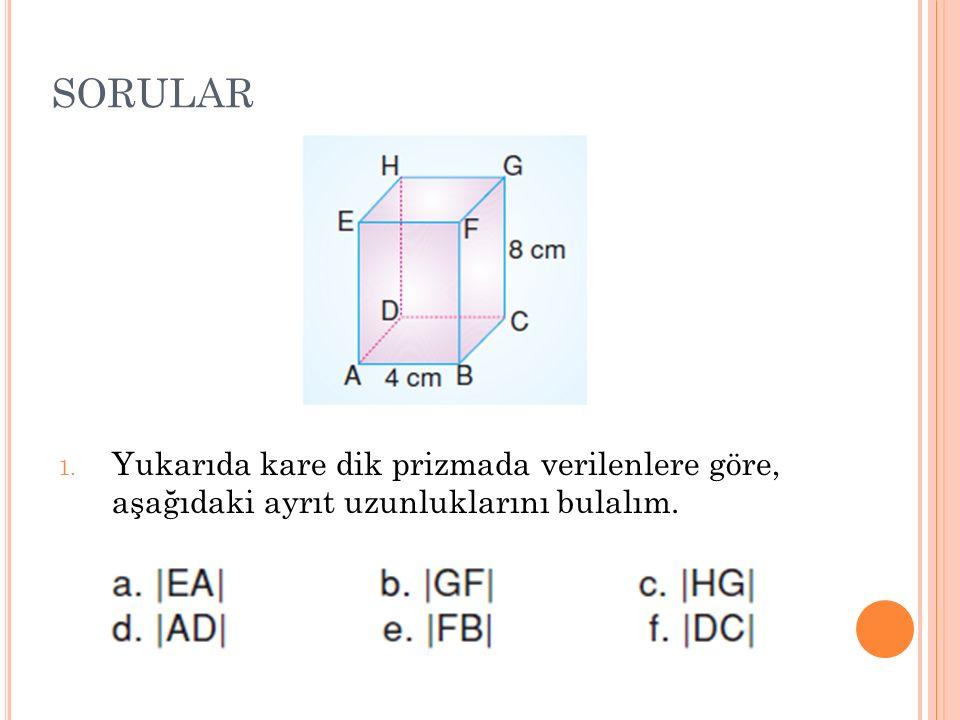 SORULAR 1. Yukarıda kare dik prizmada verilenlere göre, aşağıdaki ayrıt uzunluklarını bulalım.