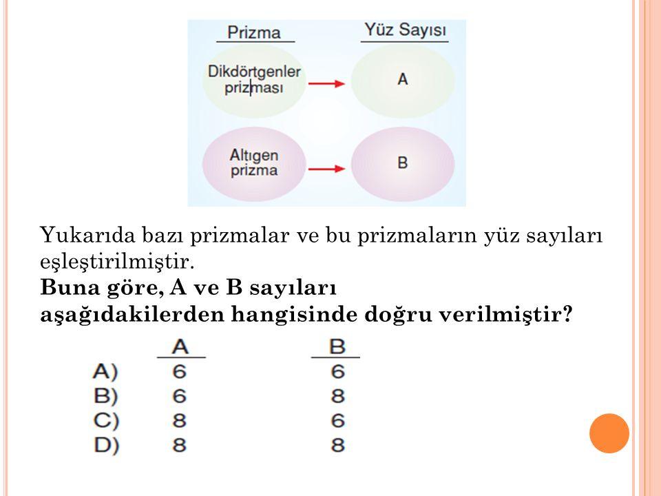 Yukarıda bazı prizmalar ve bu prizmaların yüz sayıları eşleştirilmiştir. Buna göre, A ve B sayıları aşağıdakilerden hangisinde doğru verilmiştir?