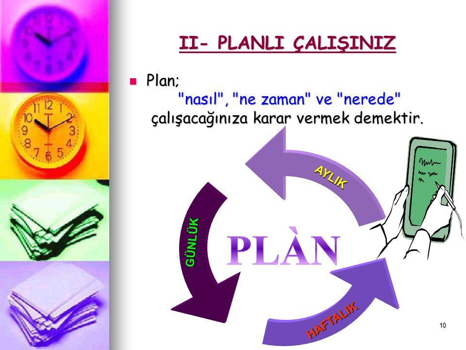 9 Planlı Çalışmayı Anlatayım Sana: Plan Nedir?