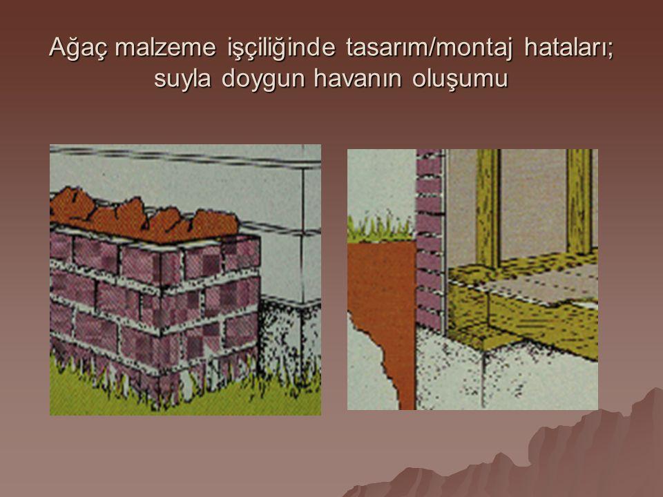 Ağaç malzeme işçiliğinde tasarım/montaj hataları; suyla doygun havanın oluşumu