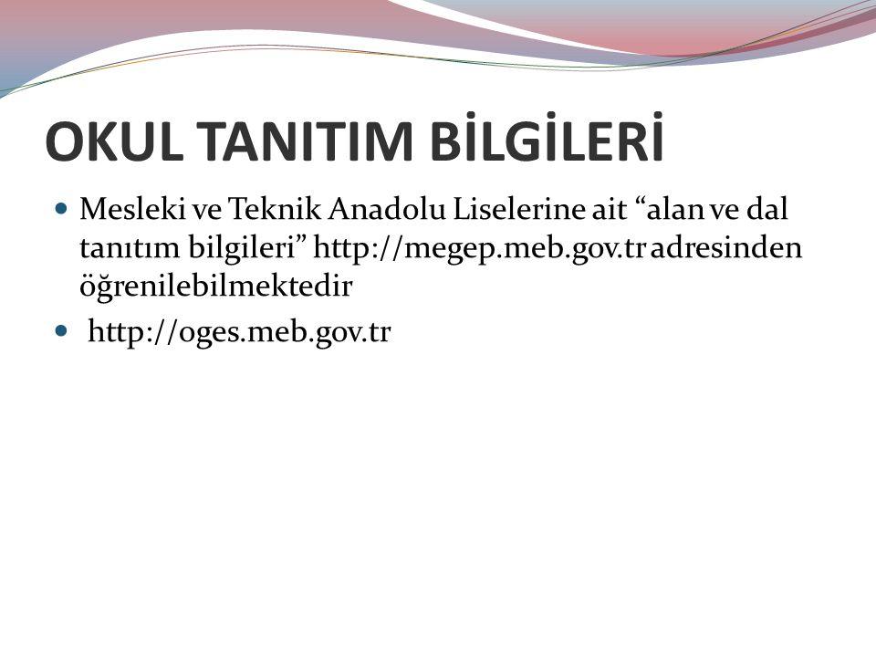 OKUL TANITIM BİLGİLERİ Mesleki ve Teknik Anadolu Liselerine ait alan ve dal tanıtım bilgileri http://megep.meb.gov.tr adresinden öğrenilebilmektedir http://oges.meb.gov.tr