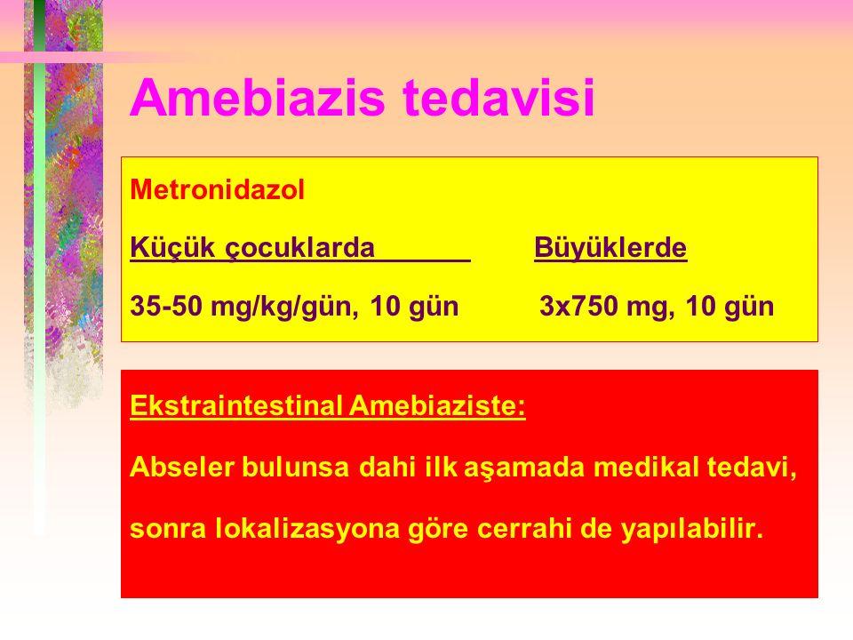 Amebiazis tedavisi Metronidazol Küçük çocuklarda Büyüklerde 35-50 mg/kg/gün, 10 gün 3x750 mg, 10 gün Ekstraintestinal Amebiaziste: Abseler bulunsa dahi ilk aşamada medikal tedavi, sonra lokalizasyona göre cerrahi de yapılabilir.