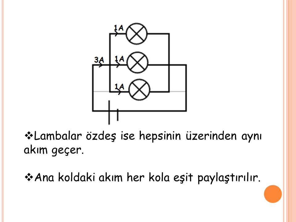  Lambalar özdeş ise hepsinin üzerinden aynı akım geçer.  Ana koldaki akım her kola eşit paylaştırılır.