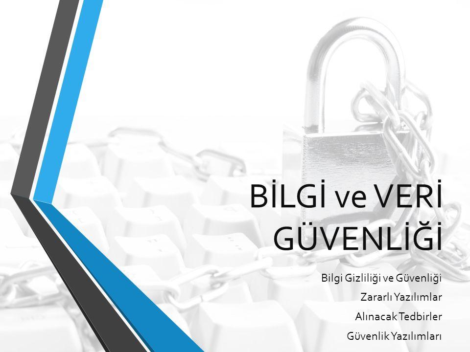 BİLGİ ve VERİ GÜVENLİĞİ Bilgi Gizliliği ve Güvenliği Zararlı Yazılımlar Alınacak Tedbirler Güvenlik Yazılımları