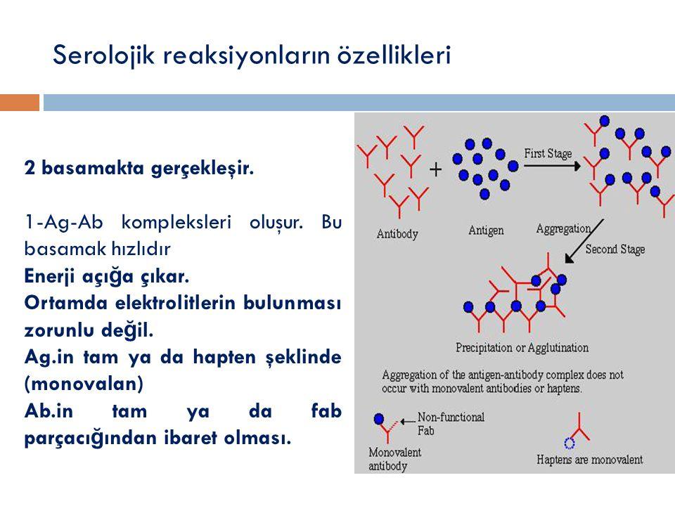 Serolojik reaksiyonların özellikleri 2 basamakta gerçekleşir. 1-Ag-Ab kompleksleri oluşur. Bu basamak hızlıdır Enerji açı ğ a çıkar. Ortamda elektroli
