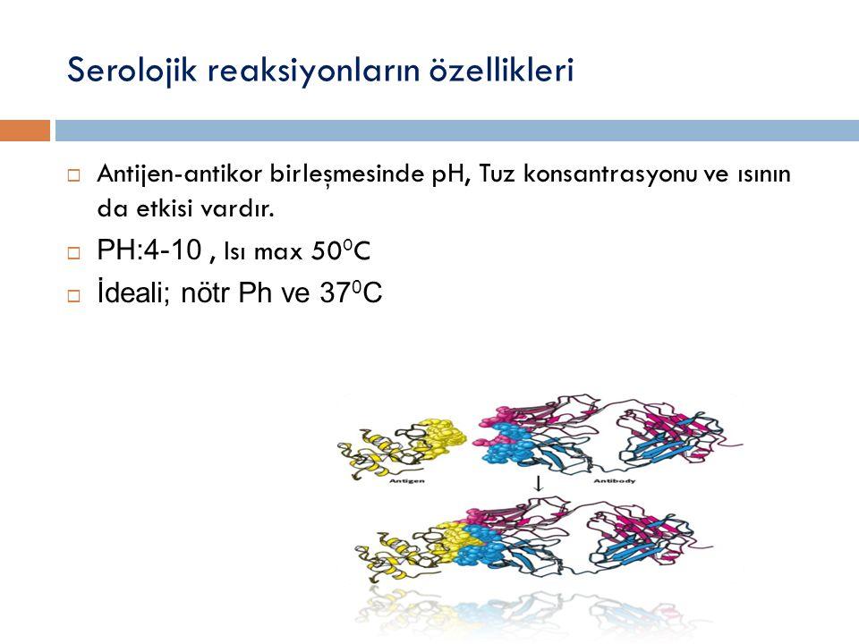 Serolojik reaksiyonların özellikleri  Antijen-antikor birleşmesinde pH, Tuz konsantrasyonu ve ısının da etkisi vardır.  PH:4-10, Isı max 50 0 C  İd