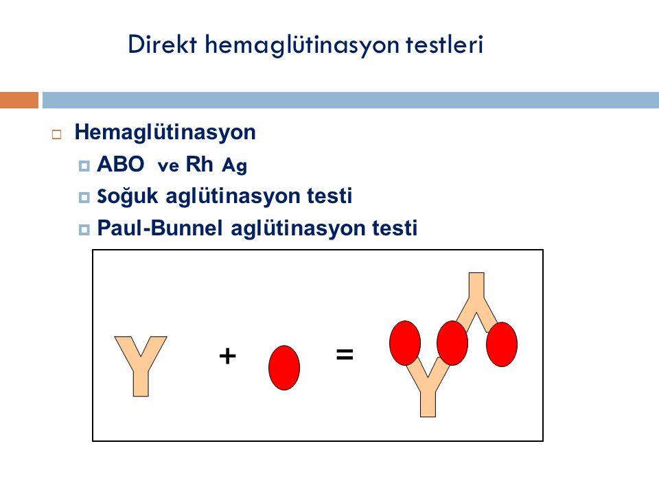  Hemaglütinasyon  ABO ve Rh Ag  S oğuk aglütinasyon testi  Paul-Bunnel aglütinasyon testi Direkt hemaglütinasyon testleri + =