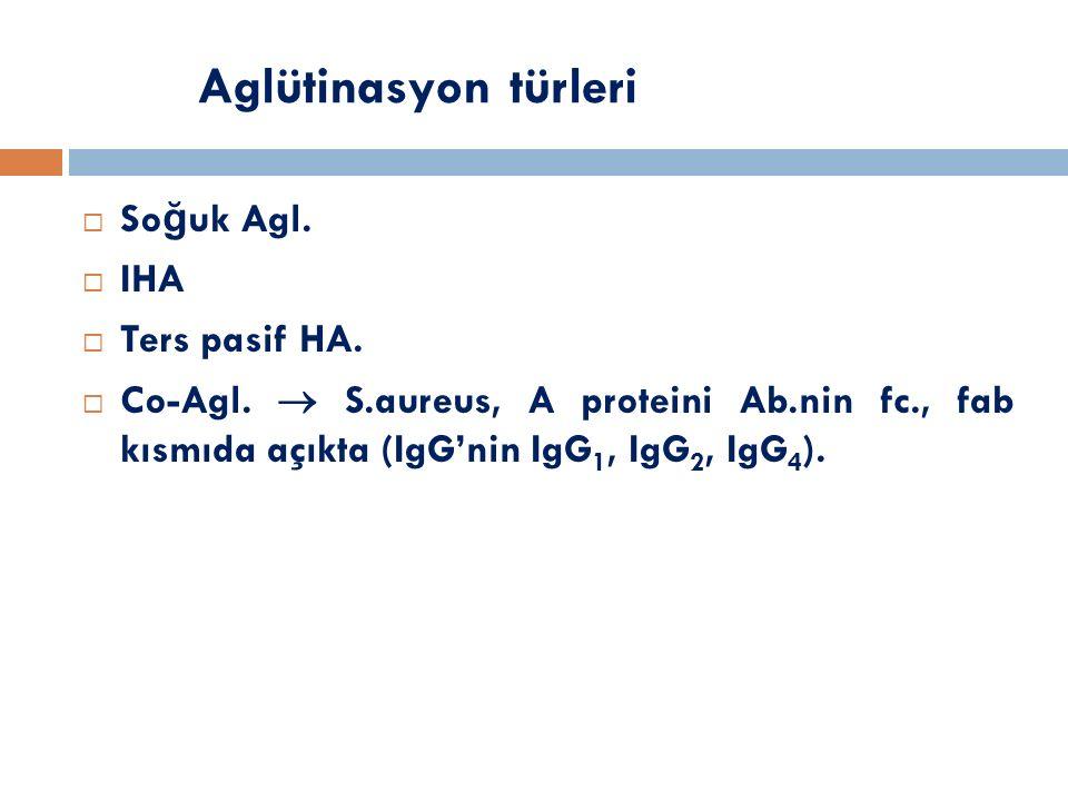 Aglütinasyon türleri  So ğ uk Agl.  IHA  Ters pasif HA.  Co-Agl.  S.aureus, A proteini Ab.nin fc., fab kısmıda açıkta (IgG'nin IgG 1, IgG 2, IgG