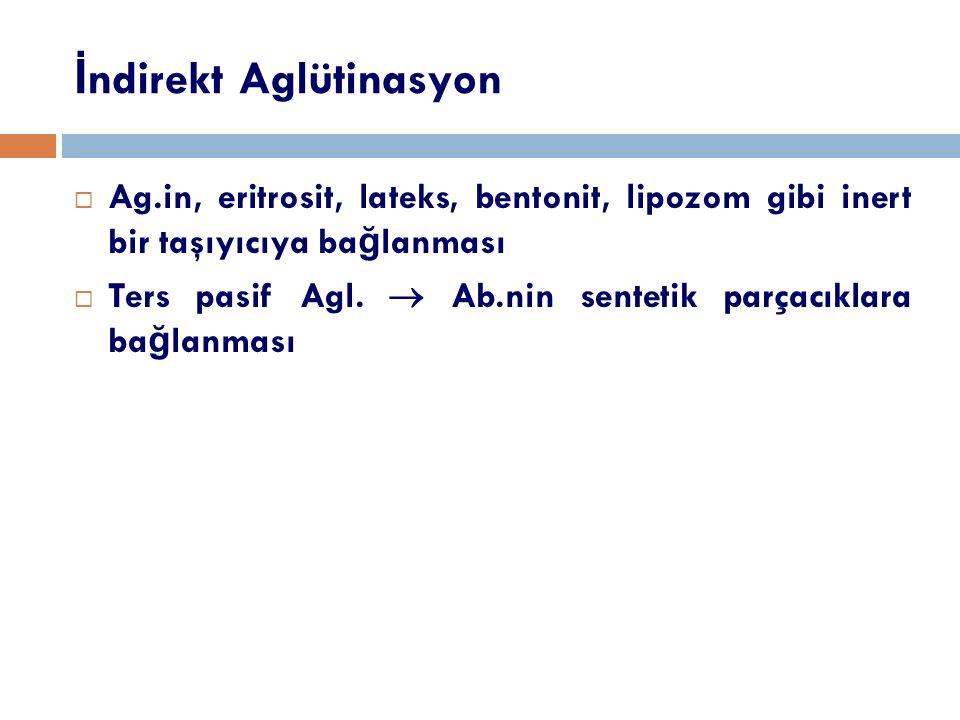 İ ndirekt Aglütinasyon  Ag.in, eritrosit, lateks, bentonit, lipozom gibi inert bir taşıyıcıya ba ğ lanması  Ters pasif Agl.  Ab.nin sentetik parçac