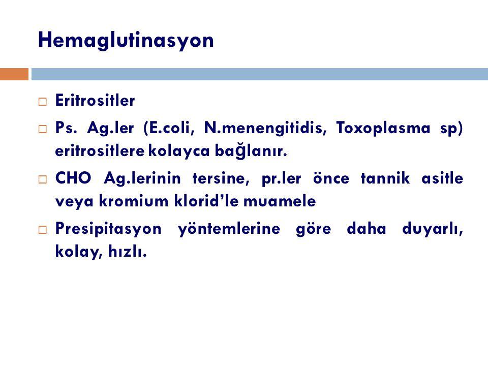 Hemaglutinasyon  Eritrositler  Ps. Ag.ler (E.coli, N.menengitidis, Toxoplasma sp) eritrositlere kolayca ba ğ lanır.  CHO Ag.lerinin tersine, pr.ler
