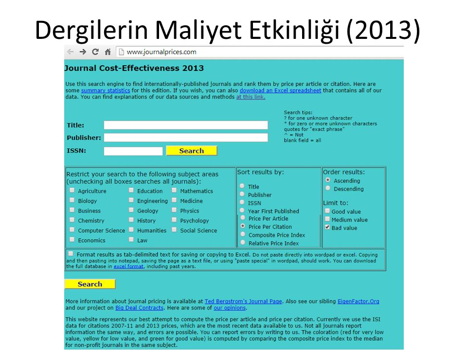 Dergilerin Maliyet Etkinliği (2013)