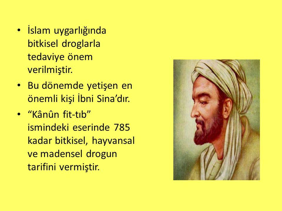 """İslam uygarlığında bitkisel droglarla tedaviye önem verilmiştir. Bu dönemde yetişen en önemli kişi İbni Sina'dır. """"Kânûn fit-tıb"""" ismindeki eserinde 7"""