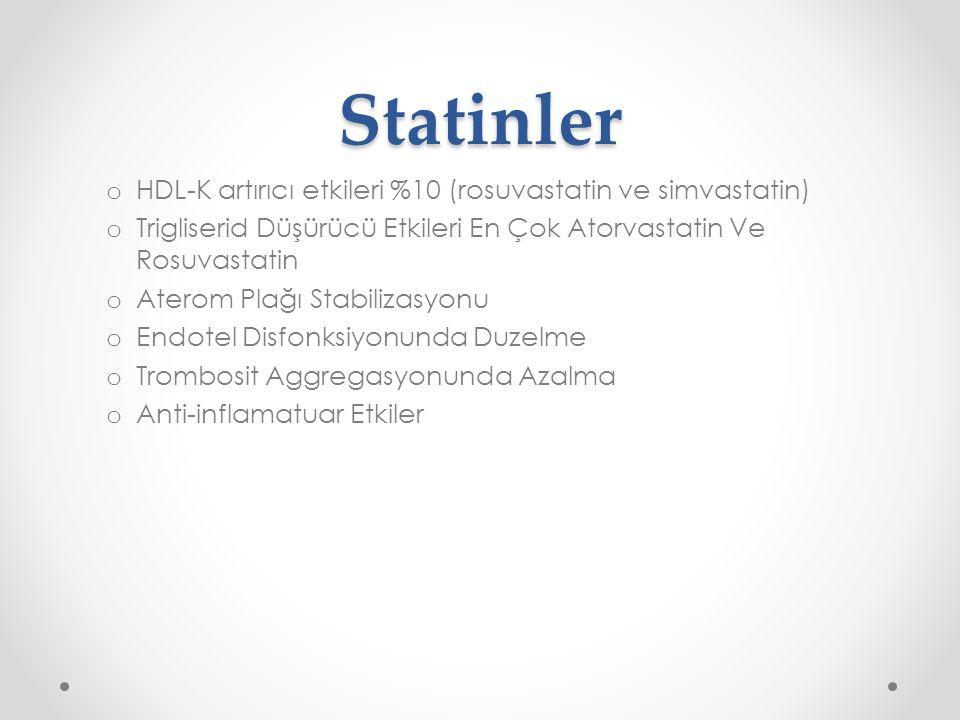 Statinler Gece kullanım Tedavi öncesi o TSH o Transaminazlar o Kreatinin ----renal fonksiyon bozukluğu-----kreatinin klerensi kreatinin klerensi<30 mL/dakika ise doz ayarlanmalı pravastatin tercih edilebilir İlaç ve gıda etkileşimleri Gebelik ve emzirme döneminde statinlerin kullanımı önerilmez