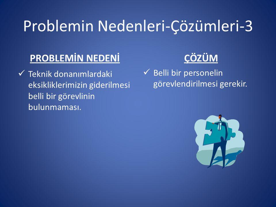 Problemin Nedenleri-Çözümleri-3 PROBLEMİN NEDENİ Teknik donanımlardaki eksikliklerimizin giderilmesi belli bir görevlinin bulunmaması.
