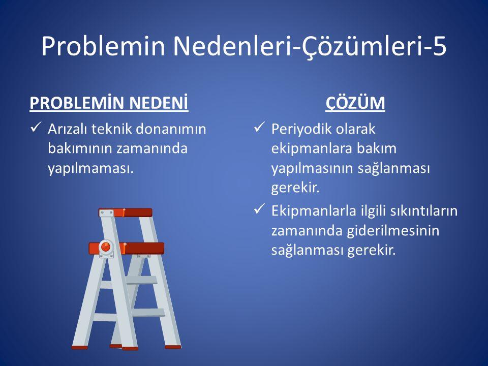 Problemin Nedenleri-Çözümleri-5 PROBLEMİN NEDENİ Arızalı teknik donanımın bakımının zamanında yapılmaması.
