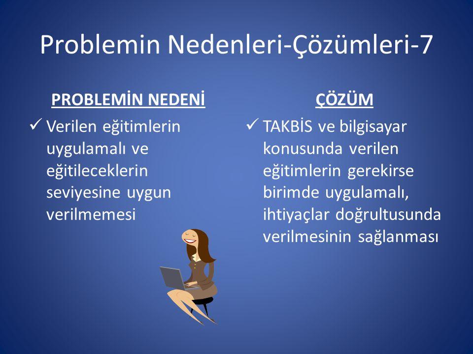 Problemin Nedenleri-Çözümleri-7 PROBLEMİN NEDENİ Verilen eğitimlerin uygulamalı ve eğitileceklerin seviyesine uygun verilmemesi ÇÖZÜM TAKBİS ve bilgis