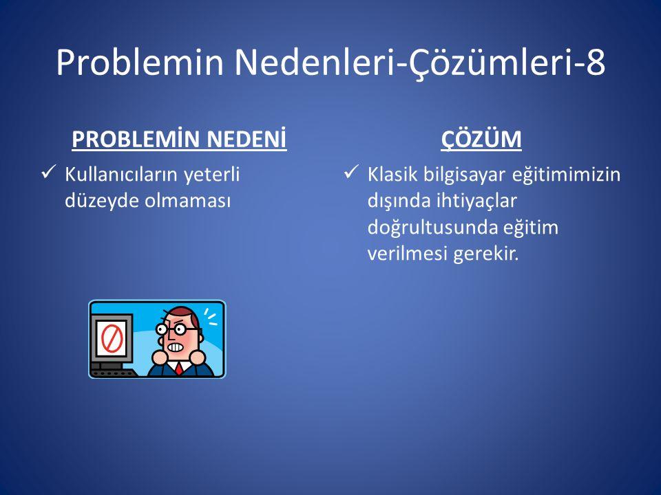 Problemin Nedenleri-Çözümleri-8 PROBLEMİN NEDENİ Kullanıcıların yeterli düzeyde olmaması ÇÖZÜM Klasik bilgisayar eğitimimizin dışında ihtiyaçlar doğrultusunda eğitim verilmesi gerekir.