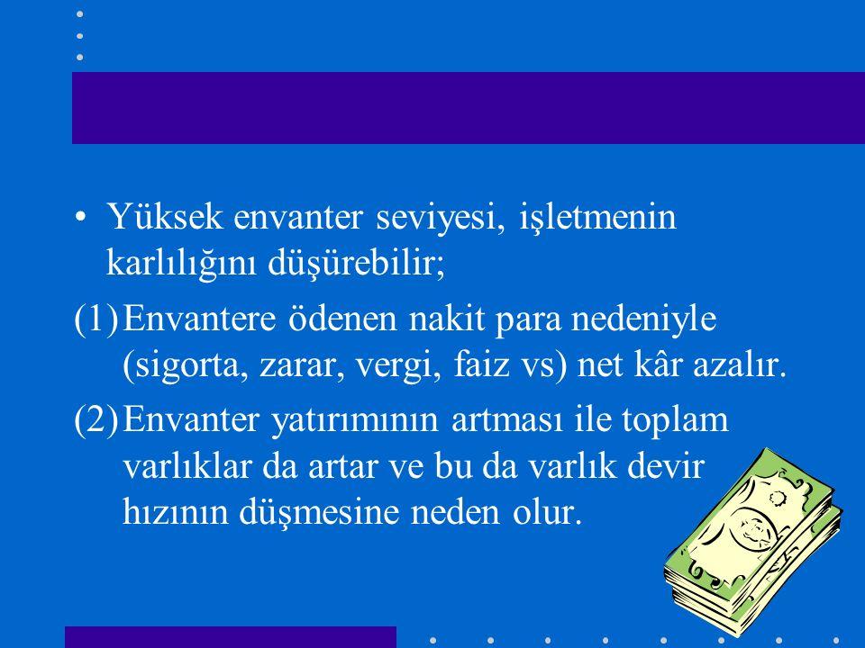 Yüksek envanter seviyesi, işletmenin karlılığını düşürebilir; (1)Envantere ödenen nakit para nedeniyle (sigorta, zarar, vergi, faiz vs) net kâr azalır