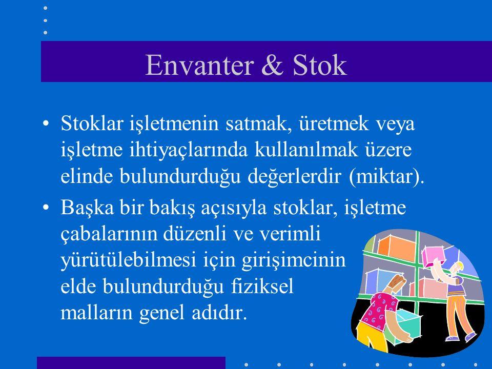 Envanter & Stok Stoklar işletmenin satmak, üretmek veya işletme ihtiyaçlarında kullanılmak üzere elinde bulundurduğu değerlerdir (miktar). Başka bir b