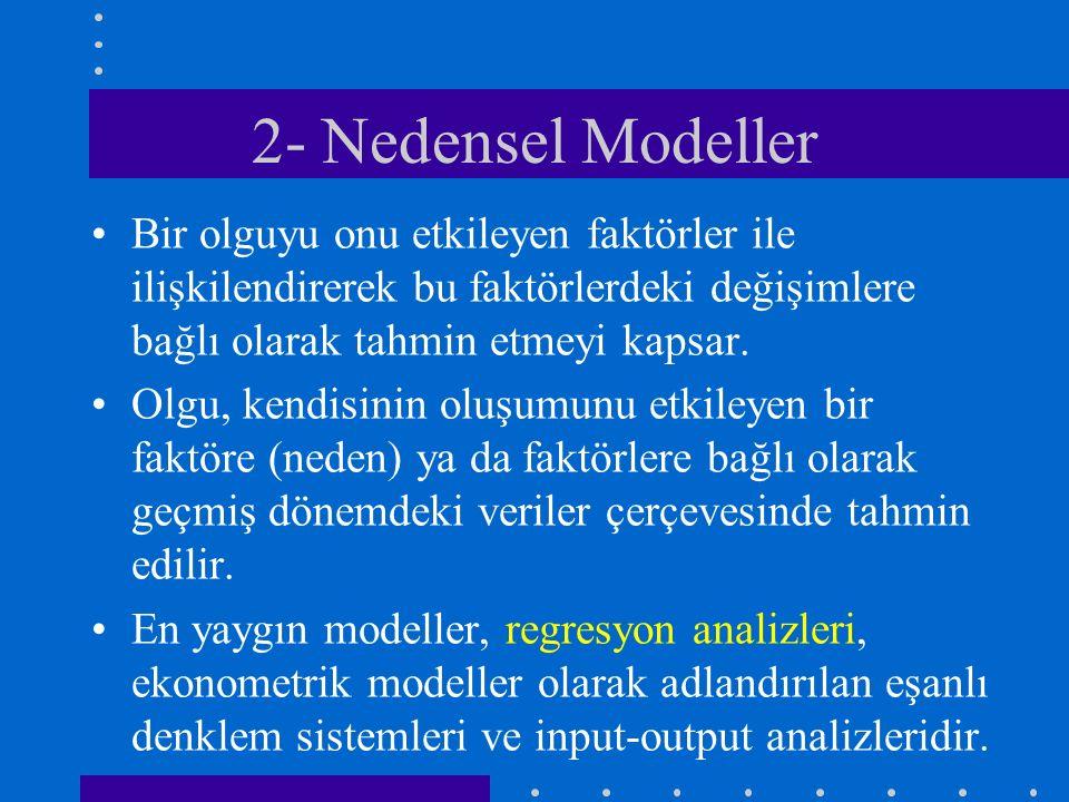 2- Nedensel Modeller Bir olguyu onu etkileyen faktörler ile ilişkilendirerek bu faktörlerdeki değişimlere bağlı olarak tahmin etmeyi kapsar. Olgu, ken
