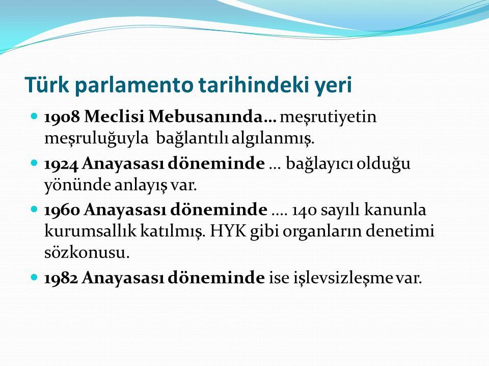 Türk parlamento tarihindeki yeri 1908 Meclisi Mebusanında… meşrutiyetin meşruluğuyla bağlantılı algılanmış.