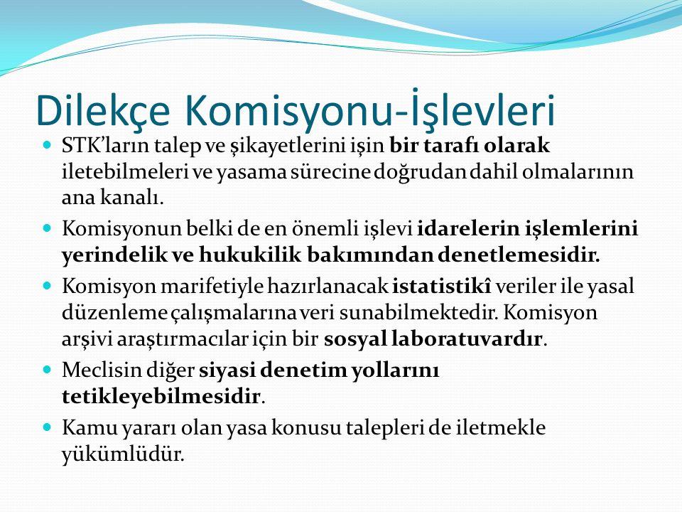 Dilekçe Komisyonu-İşlevleri STK'ların talep ve şikayetlerini işin bir tarafı olarak iletebilmeleri ve yasama sürecine doğrudan dahil olmalarının ana kanalı.