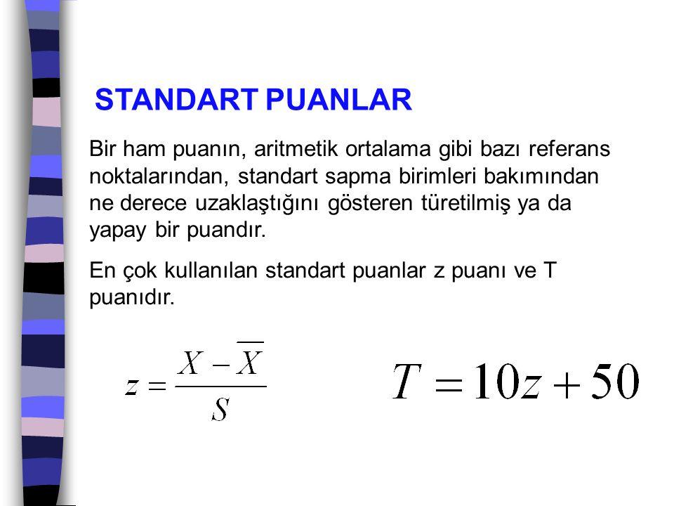 STANDART PUANLAR Bir ham puanın, aritmetik ortalama gibi bazı referans noktalarından, standart sapma birimleri bakımından ne derece uzaklaştığını göst