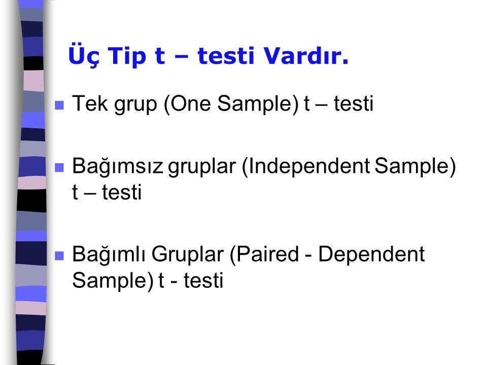 Üç Tip t – testi Vardır. n Tek grup (One Sample) t – testi n Bağımsız gruplar (Independent Sample) t – testi n Bağımlı Gruplar (Paired - Dependent Sam