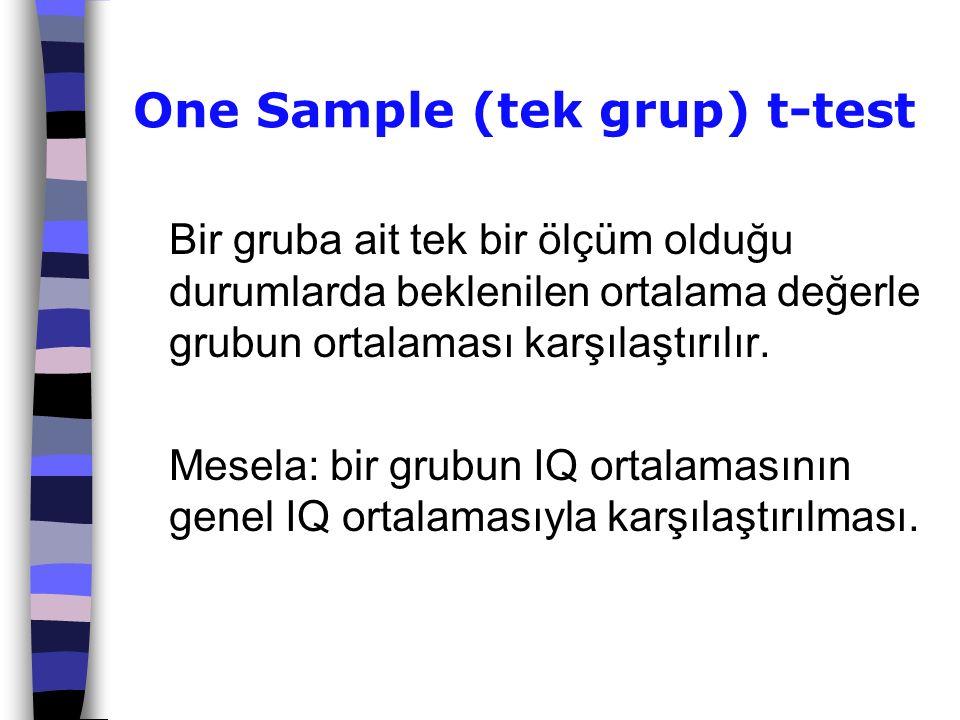 One Sample (tek grup) t-test Bir gruba ait tek bir ölçüm olduğu durumlarda beklenilen ortalama değerle grubun ortalaması karşılaştırılır. Mesela: bir
