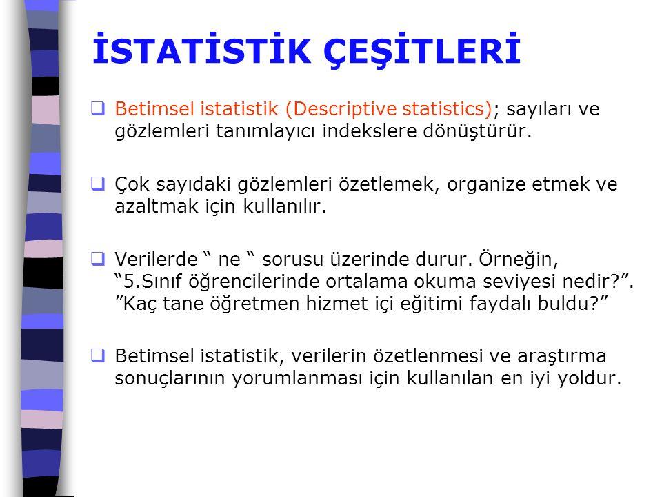 İSTATİSTİK ÇEŞİTLERİ  Betimsel istatistik (Descriptive statistics); sayıları ve gözlemleri tanımlayıcı indekslere dönüştürür.  Çok sayıdaki gözlemle