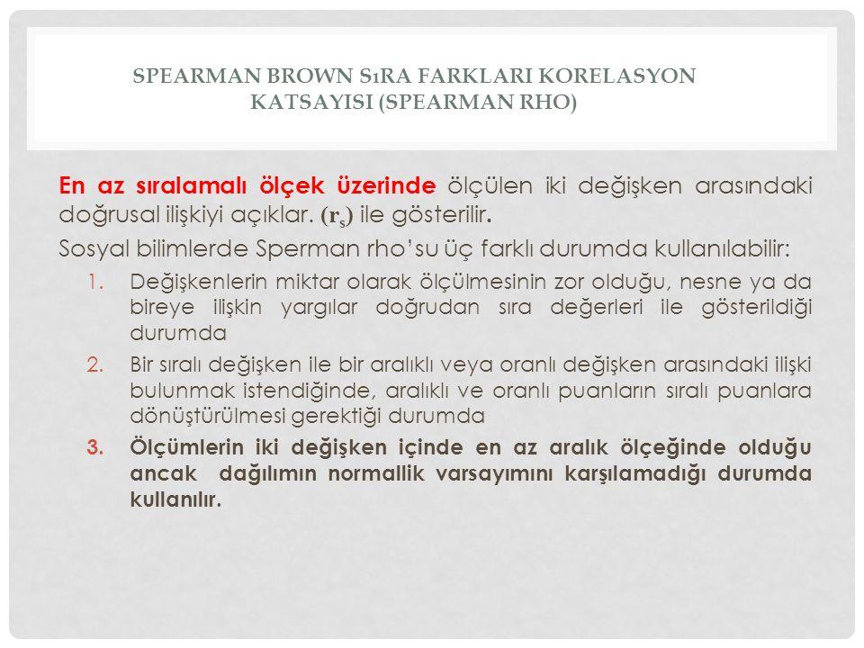 SPEARMAN BROWN SıRA FARKLARI KORELASYON KATSAYISI (SPEARMAN RHO) En az sıralamalı ölçek üzerinde ölçülen iki değişken arasındaki doğrusal ilişkiyi açıklar.