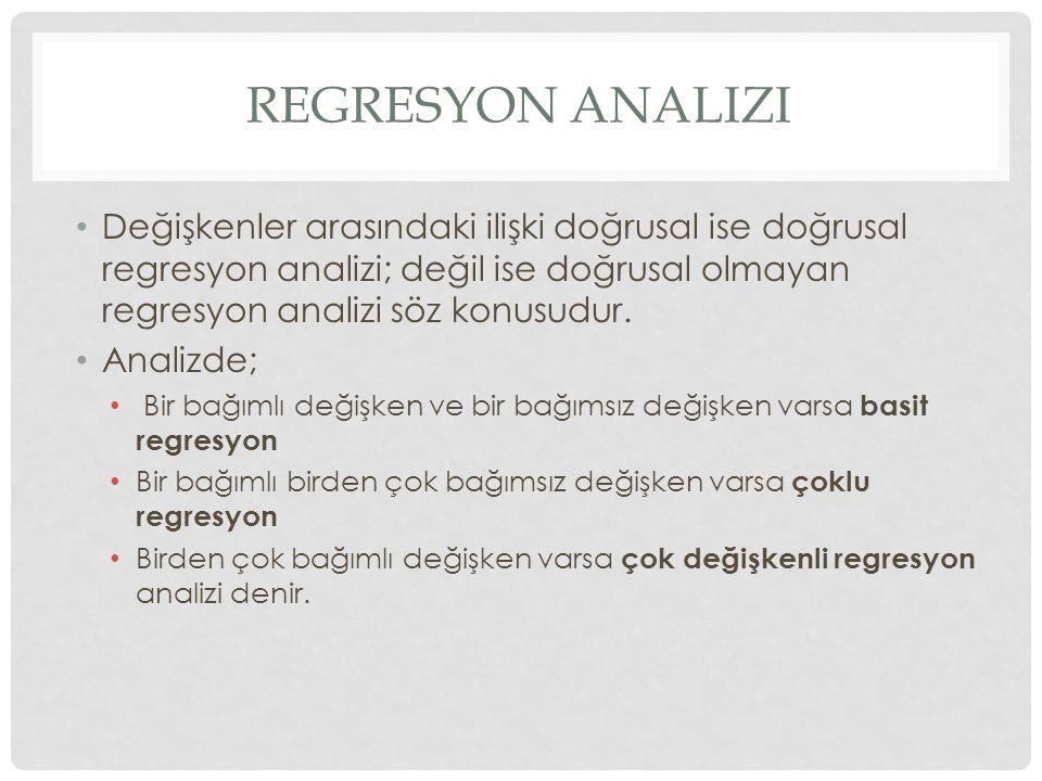 REGRESYON ANALIZI Değişkenler arasındaki ilişki doğrusal ise doğrusal regresyon analizi; değil ise doğrusal olmayan regresyon analizi söz konusudur. A
