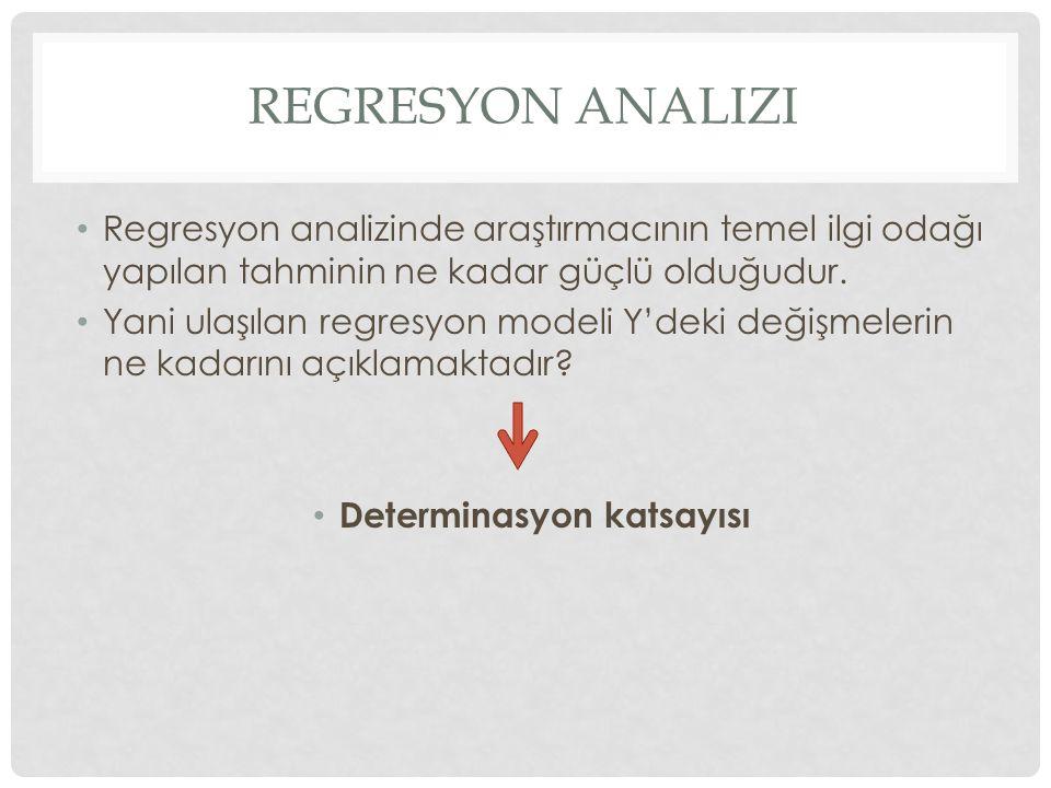 REGRESYON ANALIZI Regresyon analizinde araştırmacının temel ilgi odağı yapılan tahminin ne kadar güçlü olduğudur. Yani ulaşılan regresyon modeli Y'dek