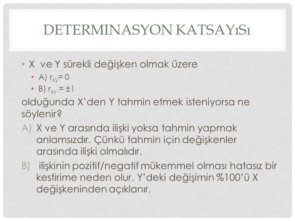 DETERMINASYON KATSAYıSı X ve Y sürekli değişken olmak üzere A) r xy = 0 B) r xy = ±1 olduğunda X'den Y tahmin etmek isteniyorsa ne söylenir? A)X ve Y