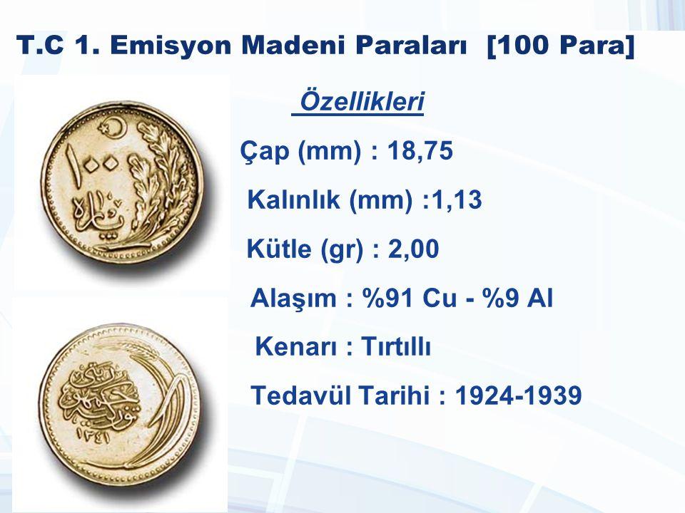 T.C 1990-2005 Madeni Paraları [1.000 Lira] Özellikleri Çap (mm) : 17,00 Kalınlık (mm) : 1,80 Kütle (gr) : 3,00 Alaşım : %90 Cu %10 Zn Kenarı : Tırtıllı Tedavül Tarihi : 1995 - 1998