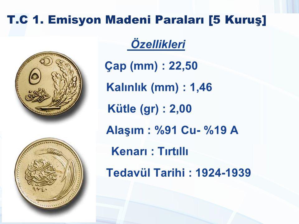 T.C 1990-2005 Madeni Paraları [2.500 Lira] Özellikleri Çap (mm) : 27,25 Kalınlık (mm) : 2,20 Kütle (gr) : 9,30 Alaşım : %69 Cu %18 Zn %12 Mn %1 Mn Kenarı : Yazılı Tedavül Tarihi : 1991 - 1998