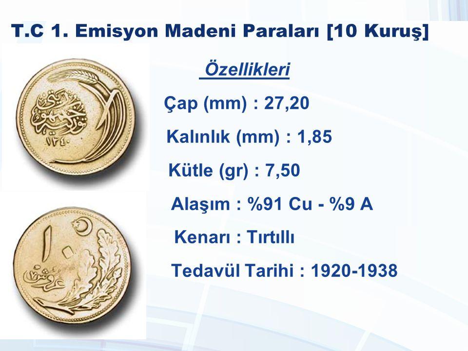 T.C 1990-2005 Madeni Paraları [5.000 Lira] Özellikleri Çap (mm) : 27,25 Kalınlık (mm) : 2,20 Kütle (gr) : 9,30 Alaşım : %69 Cu %18 Zn %12 Ni %1 Mn Kenarı : Yazılı Tedavül Tarihi : 1992 - 1998