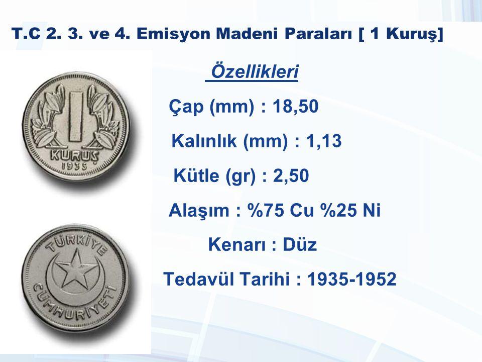 T.C 1990-2005 Madeni Paraları [25.000 Lira] Özellikleri Çap (mm) : 17,00 Kalınlık (mm) : 1,65 Kütle (gr) : 2,70 Alaşım : %70 Cu %30 Zn Kenarı : Düz Tedavül Tarihi : 2001 - 2005