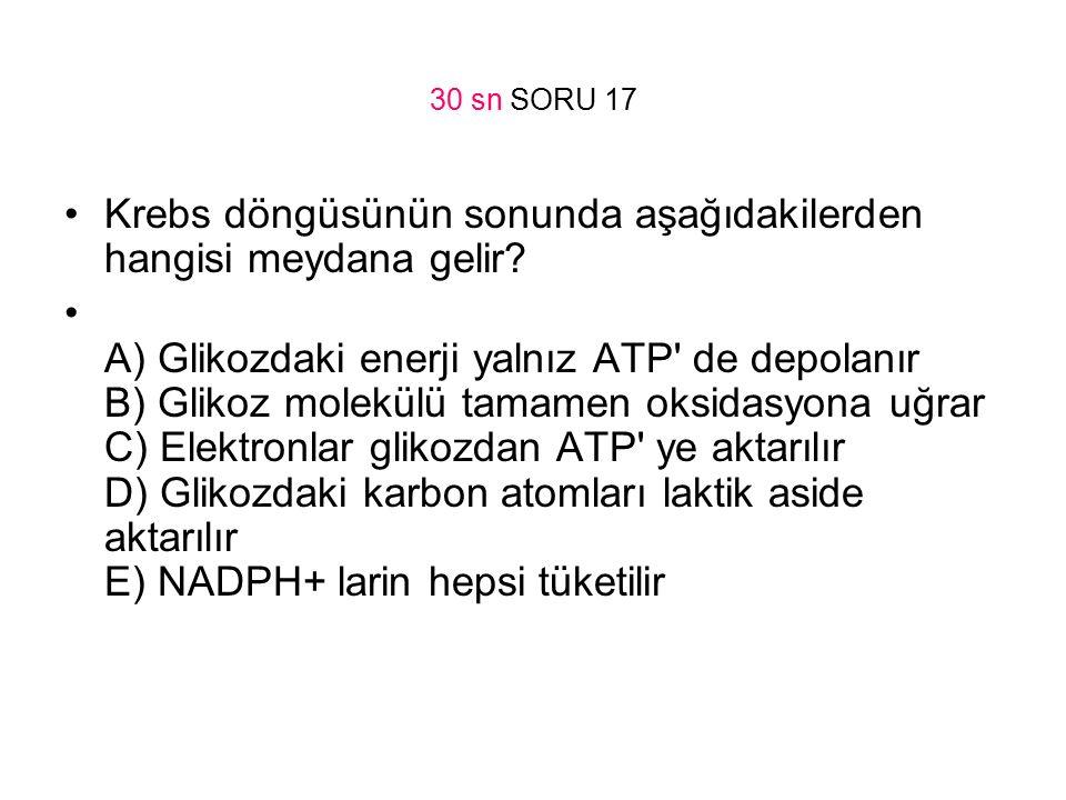 30 sn SORU 17 Krebs döngüsünün sonunda aşağıdakilerden hangisi meydana gelir? A) Glikozdaki enerji yalnız ATP' de depolanır B) Glikoz molekülü tamamen
