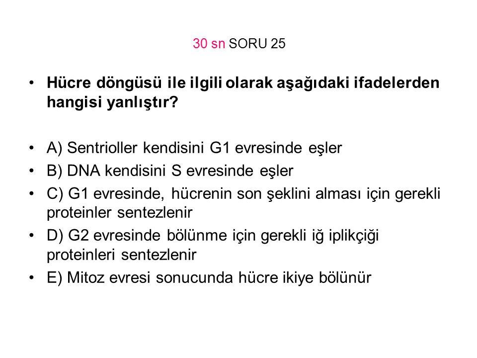 30 sn SORU 25 Hücre döngüsü ile ilgili olarak aşağıdaki ifadelerden hangisi yanlıştır? A) Sentrioller kendisini G1 evresinde eşler B) DNA kendisini S