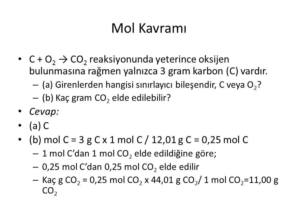 Mol Kavramı C + O 2 → CO 2 reaksiyonunda yeterince oksijen bulunmasına rağmen yalnızca 3 gram karbon (C) vardır.