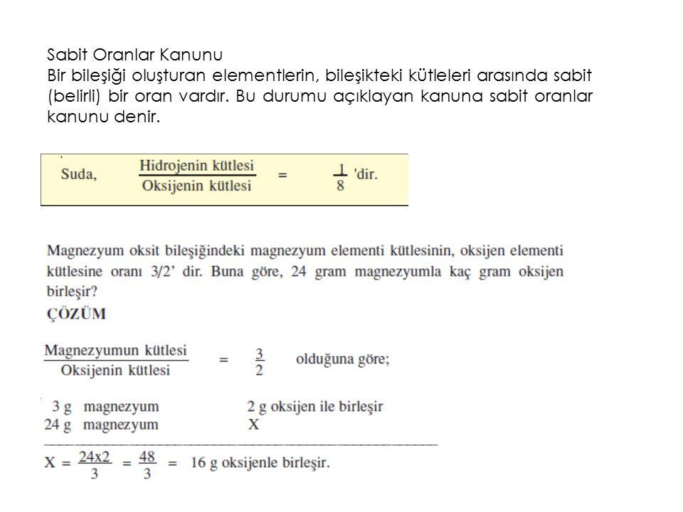Sabit Oranlar Kanunu Bir bileşiği oluşturan elementlerin, bileşikteki kütleleri arasında sabit (belirli) bir oran vardır.